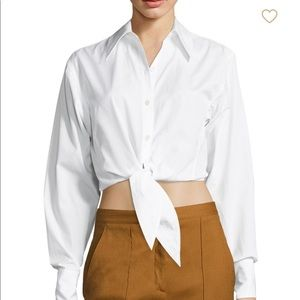 NWOT DVF cropped white button down blouse w/ tie